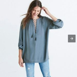 Madewell Lace-Up Peasant Top